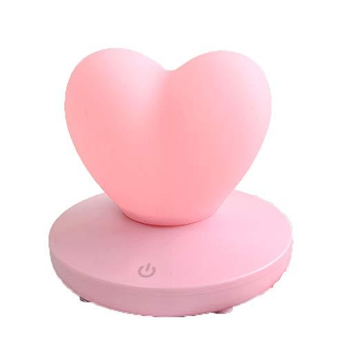 ZYLBDNB LED Nachtlicht, LED Kreativ Schlafzimmer Touch USB Lade Herzförmiges Nachtlicht Liebeslicht Silikon Fernbedienung Schreibtischlampe Rosa Idea Schreibtischlampe (Ideen Geburtstag Herzstück Mädchen)