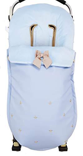 Saco funda POLAR de silla de paseo en pelo corto celeste y ecopiel azul con estrellas bordadas en camel Fabricado en España