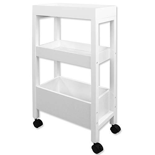 TW24 Nischenschrank - Küchentrolley - Nischenwagen - Nischenregal - Küchenregal - Küchenwagen - mit Rollen weiß
