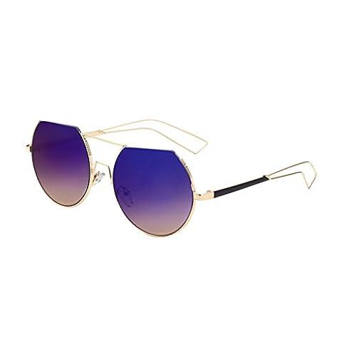 hmilydyk Herren Damen Vintage Polarisierte Sonnenbrille runde Spiegel Gläser UV-Schutz Brillen Eyewear mit Fall, Gold Frame Purple
