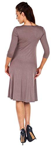 Zeta Ville - Damen Mittellanges Swing-Kleid mit eckigem Ausschnitt - 314z Cappuccino
