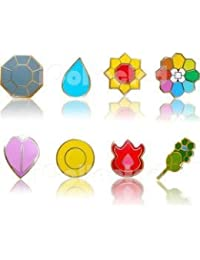 Complete set of 8 Silver Kanto Gym Leader Badges Lapel Pins from Pokemon pikachu Series 1 by LBS4ALL