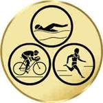 Pokal / Medaille Emblem, Motiv Triathlon, Durchmesser 50 mm, gold