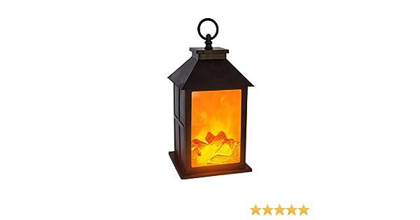 AC-D/éco Lanterne /à Pile Imitation feu de Bois L 14 x l 14 x H 26,5 cm