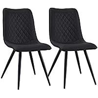 0d1aa04a9ac82 BHDesign ANOUCK - Set de 2 chaises - Scandinaves Modernes - Simili Cuir -  Coloris Noir