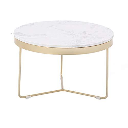 CSQ Wohnzimmer Marmor Couchtisch, Haushalt Eisen Kunst Runde Tee Tischdekoration Gold Esstisch Sofa Tabelle 60 * 60 * 38 cm (Farbe : B)