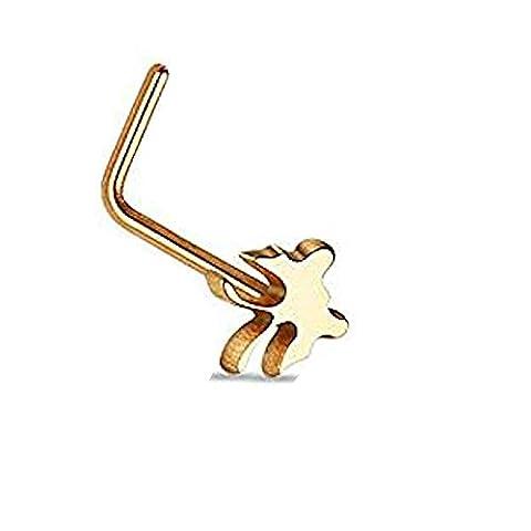 1 x Rose Gold überzogene Schmetterling Tier Nase Stud L Bend Piercing Dicke: 0,8mm Länge: 6mm Material: Chirurgischer (Gold Überzogenes Onyx Stud)
