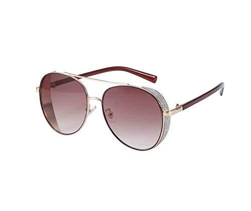 ZTMN Polarisierte Sonnenbrille Weiblicher Strass Gro szlig; er Rahmen Rundes Gesicht Anti-UV Multicolor Optional (Farbe: Gold Frame Red Film)