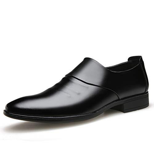 CUTUDE Lederschuhe Herren Leder Freizeitschuhe Mokassins Atmungsaktiv Slip on Loafers Outdoor Casual Sneakers Weich Leder Shoes Halbschuh Bequeme Schuhe für Arbeit Business (Schwarz, 43 EU)