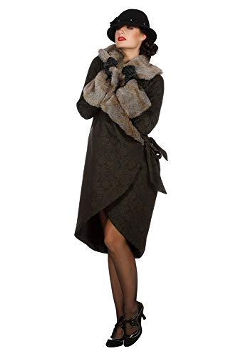 Schwarzer Mantel Pelz Kostüm - shoperama Eleganter 20er Jahre Damen Mantel mit Pelz Fell-Imitat Flapper Charleston Kostüm-Zubehör Roaring Twenties 20's, Größe:36