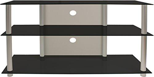VCM TV-Rack Möbel Board LCD LED Medienboard Lowboard Tisch Alu Glas Schwarzglas