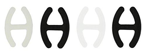 com-four® 4X BH H Clip - zum Verstecken und Verkürzen der BH-Träger in schwarz, weiß und transparent (004 Stück - Schwarz/Transparent/Weiß)