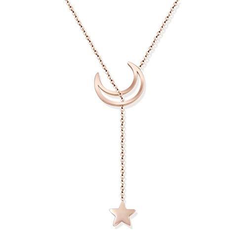 CTRCHUJIAN Mond Mini Halskette anhänger Frauen Klassische schlüsselbein Halskette Rose Gold Farbe Titanium stahlkette -