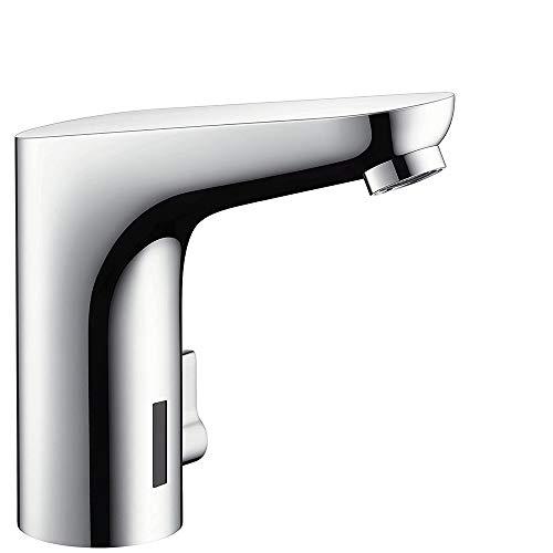 hansgrohe Focus Elektronik-Waschtischarmatur, Komfort-Höhe 130mm mit Temperaturregulierung und Netzanschluss, Chrom
