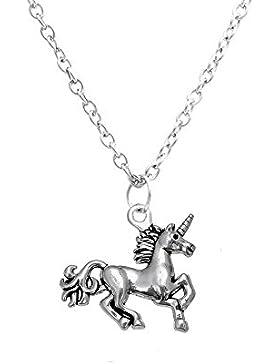 Antik versilbert Einhorn Anhänger Halskette Little Mädchen Geschenk 750