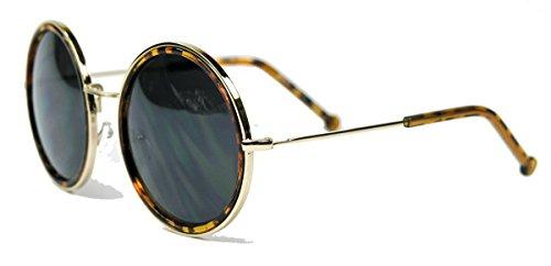 Retro Sonnenbrille 50er Jahre schwarz braun rund Vintage Lennon oversized Damen Brille SO (Hornbrille / Gold)