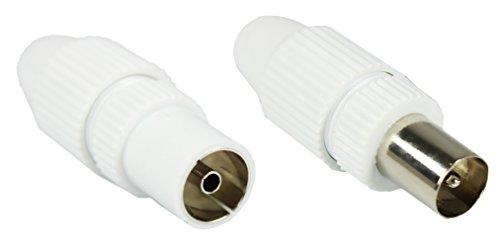 com-four® HQ Set: 1x Stecker + 1x Buchse, TV Antennen Koax Stecker Kupplung weiß - Tv-antenne-stecker
