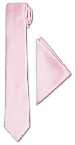 CRIXUS schmale Krawatte Puder Rosa Satin-Krawatte mit oder ohne Einstecktuch ( Tuch Maß 26 x 26 cm...
