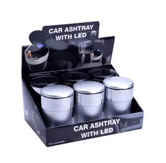 Posacenere portatile per la macchina con luce led e coperchio a chiusura ermetica (argento)