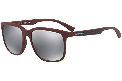 Emporio Armani EA4104 Sonnenbrille Rote Gummi Mit Grauem Verspiegelten Gläsern 56066G EA 4104 Bordeaux groß