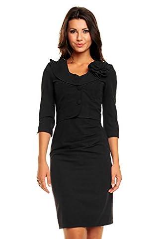 VictoriaV - Kostüm Etuikleid und Blazer   Business Kostüm Outfit Damenkostüm Kurzblazer und Kleid Elegante Mode   schwarz - Größe 44