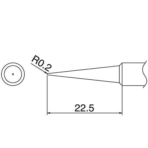 Hakko T18-BL - T18 Series Soldering Tip for Hakko FX-888/FX-8801 - Conical - R0.2 mm x 22.5 mm (japan import) R02 Series