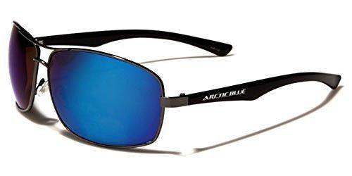 en rechteckige Aviator Blendfreie verspiegelte Sonnenbrillen Winter fahren voll UV400 Schutz gratis vibranthut Tasche inklusive - gusszinnbronze/schwarz, One Size (Blue Aviator Hut)