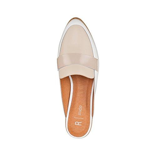 R Studio Donna Mocassini Pantofole Pelle Tricolore Bianco