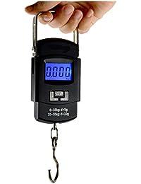 GLUN Hook Type 50 kg Digital Bolt Electronic Portable Fishing Hook Type Digital LED Screen Luggage Weighing Scale, 50 kg (Black)