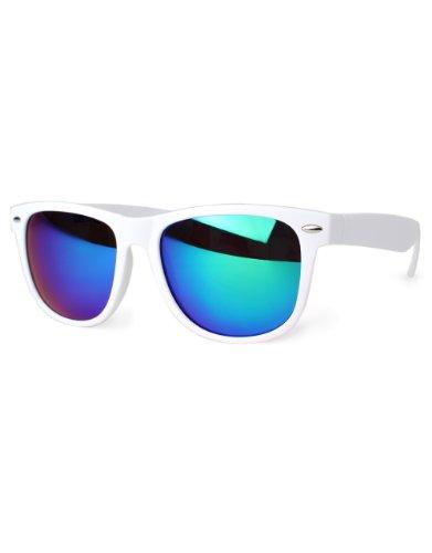Distressed Blues Matt matte Sonnenbrille im Retro Wayfarer Stil 80er ws-gruen-verspiegelt
