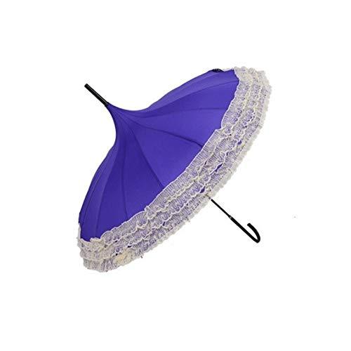 BEITAI Halbautomatische Princess Lace Pagoda Umbrellas Hakenregen mit langem Griff (Farbe : Lila) (Steampunk Kostüm Princess)
