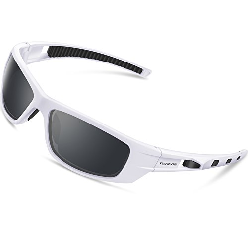 Torege Sports Sunglasses Polarized Glasses For Man Women Cycling Running Fishing Golf TR040 (White&Black&Gray Lens)