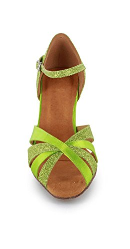 Minitoo Donna Cut-out raso elegante Satin Latin Dance scarpe confortevole Sandali Green