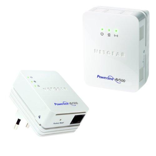 Netgear XWNB5201-100PES Kit di 2 Adattatori Powerline AV 500Mbit, porta Fast Ethernet - 1 Powerline Wi-Fi Access Point , 1 Powerline nano - Bianco