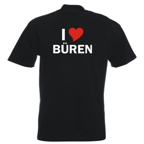 T-Shirt mit Städtenamen - i Love Büren - Herren - unisex Schwarz