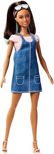 Barbie FJF37 Fashionista Puppe im Jeanskleid mit Sonnenbrille