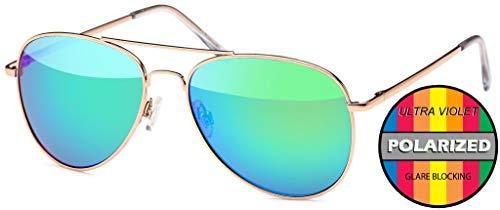 Hatstar Polarisierte Pilotenbrille Verspiegelt Fliegerbrille Sonnenbrille Pornobrille Brille mit Federscharnier (55 Polarisiert | Rahmen Gold - Grün verspiegelt)