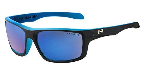 Dirty Dog Erwachsene Achse Wrap Sonnenbrillen-Satin Schwarz/Blau-Polarisiert blau Spiegel Objektiv 53353