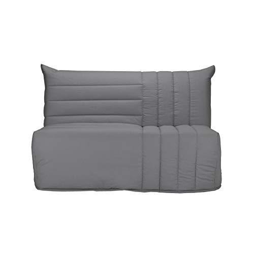 BECCI Banquette BZ 2 places avec matelas BULTEX - Tissu 100% coton gris - Style contemporain - L 142 x P 101 cm