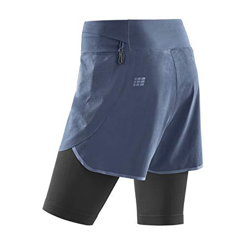 CEP - Run 2IN1 Shorts 3.0 für Damen | Kurze Sporthose mit Kompression in grau/schwarz | Größe I
