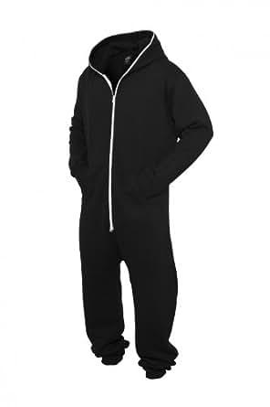 Urban Classics Sweat Jumpsuit TB277, Farbe:schwarz/weiß;Größe:XS/S
