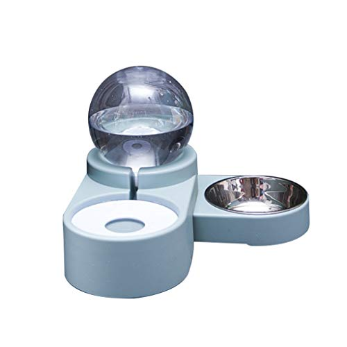 Yanhonin Fressnapf für Hunde und Katzen, automatischer Springbrunnen, Doppelschüssel für Tränke für Haustiere blau