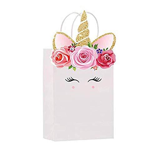 WeishenG 12 Stück Augen Einhorn Geschenktüte rosa Motto Party Kraftpapier Tasche für Zuhause Dekoration