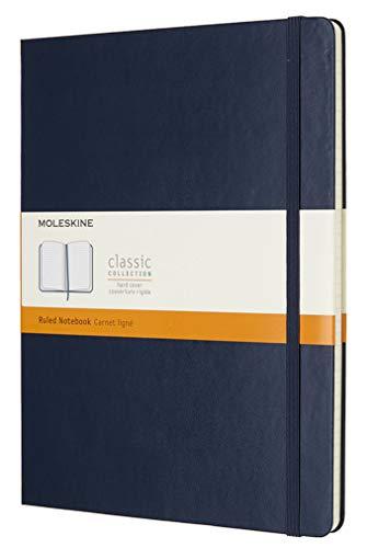 Moleskine Notebook Classic Pagina a Righe, Taccuino Copertina Rigida e Chiusura ad Elastico, Colore Blu Zaffiro, Dimensione Extra Large 19 x 25 cm, 192 Pagine