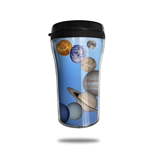 Solar System Planets Running 8.45oz Travel Coffee Mug Cup Double Insulated with Leakproof Water Bottle -