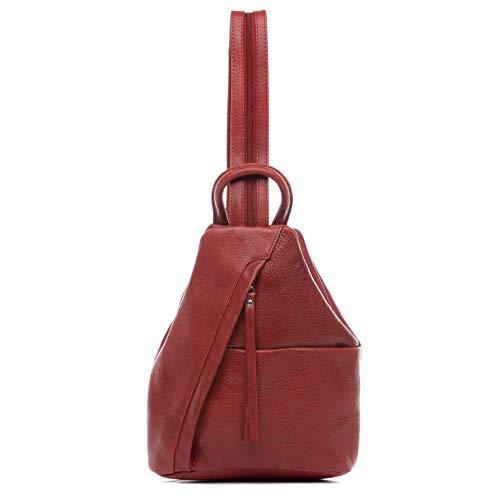 BACCINI® Zaino vera pelle EMILIA piccolo borsa a spalla borsa a zainetto backpack donna cuoio rosso