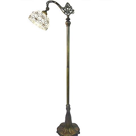 Elegante Stehleuchte mit Glasmalerei Schatten und gemeißeltes Metallhaltig Nuomeiju NMJ063