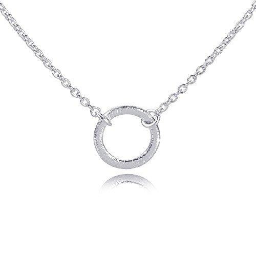 skette Damen Silber Mini Ring Anhänger - Zarte Kette Kleiner Kreis mit gebürsteter Oberfläche - 38,5-46,5 cm 925 Silber - N218s ()