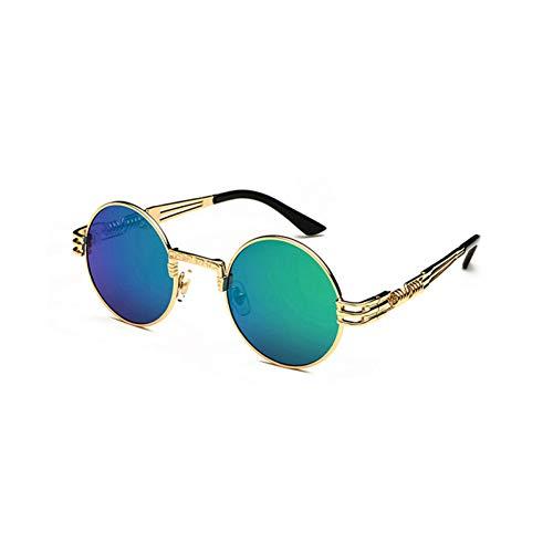 FEYGB Sonnenbrillen Vintage Retro Gothic Steampunk Mirror Sonnenbrille Gold Und Schwarze Sonnenbrille Vintage Round Circle Men, Green