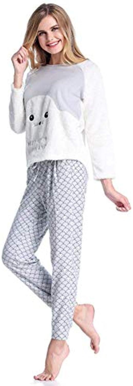 Donna Camicie da Notte Maniche Lunghe Cartoon Pattern Coral da ... d8e6a541cad